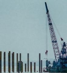 珍貴的老照片!仙桃漢江大橋開工打樁現場圖