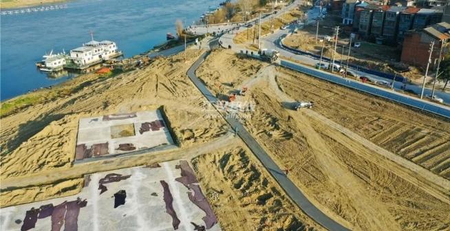 仙桃超級項目江灘公園新進展:有道路有綠化